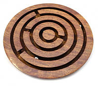 """Игра """"лабиринт"""" Круг из красного дерева 12х9,5х1см. Арт.1523"""