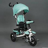 Детский трехколесный велосипед Best Trike 6699 бирюзовый, надувные колёса, поворотное сидение, фара