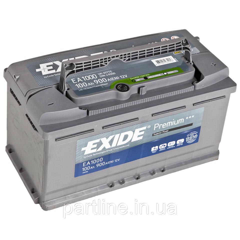 Аккумулятор  EXIDE Premium 6СТ-100 Евро ( ЕА1000 ), 900En, габариты 353х175х190, гарантия 24 мес.