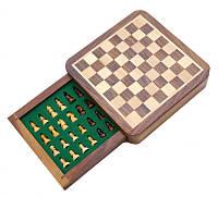"""Шахматы из красного дерева """"походные"""" магнитная основа 13х13х3,5см. Арт.150"""