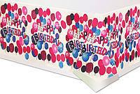 """Скатерть """"Happy birthday"""" на белом"""