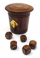 Игра 5 игральных кубиков в стаканчике из красного дерева 8х7х7см. Арт.276