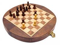 """Шахматы из красного дерева """"походные"""" магнитная основа 18х9х3,5см. Арт.104"""