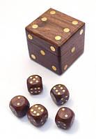 Игра 5 игральных кубиков в кубике из красного дерева 5х5х5см. Арт.3011