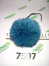 Меховой помпон Кролик, Тем. Бирюза, 9 см,  7597, фото 3