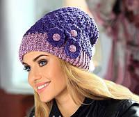 Elvira  ТМ Камея, женская шапка, полушерстяная, цвет фиолетовый с сиреневым
