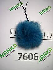 Меховой помпон Кролик, Тем. Бирюза, 7 см,  7606, фото 2