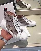 Женские ботинки из текстиля и кожи с принтом Gucci