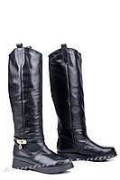 Женские сапоги кожаные, черные V 974