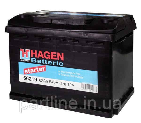Аккумулятор  EXIDE Hagen 6СТ-62 Евро ( 56219 ), 540En, габариты 242х175х190, гарантия 24 мес.