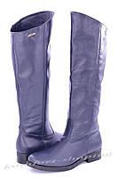 Женские кожаные сапоги , синие V 830