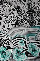 Ткань Шифон леопардовый принт купон бирюза , фото 1
