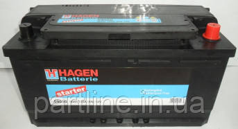 Аккумулятор  EXIDE Hagen 6СТ-90 Евро ( 59050 ), 720En, габариты 353х175х190, гарантия 24 мес.