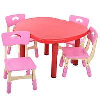 Детский столик и 4 стульчика пластик B0103-3-8