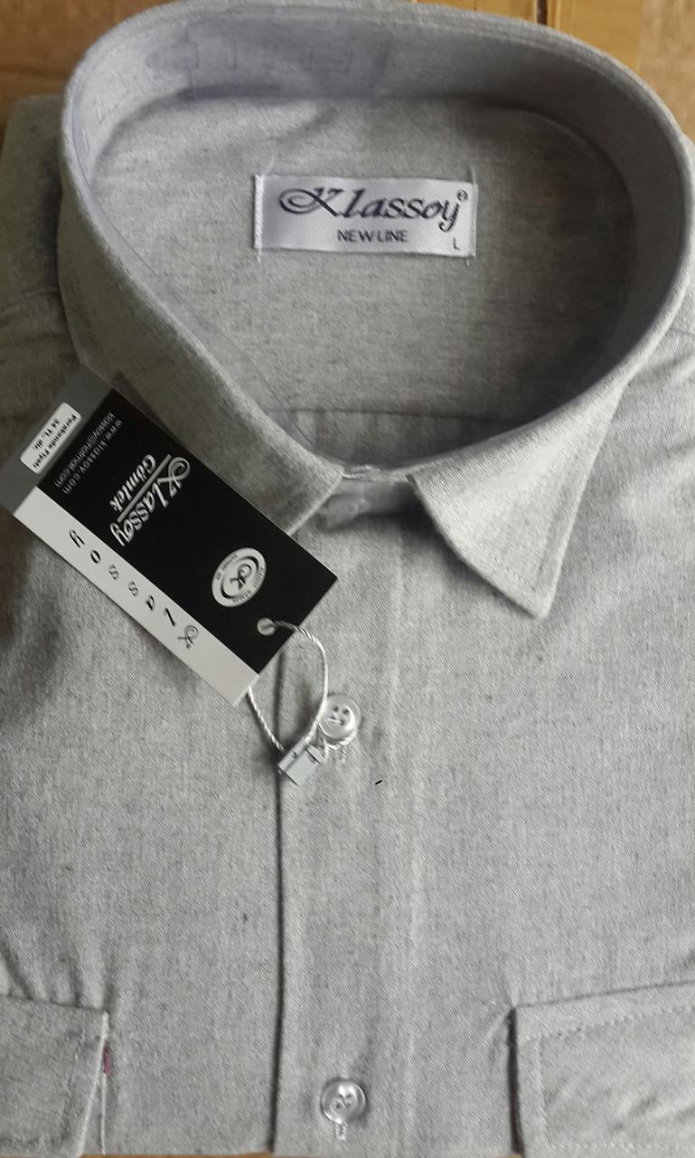 Кашемировая серая рубашка KLASSOY (размер S.M.L )