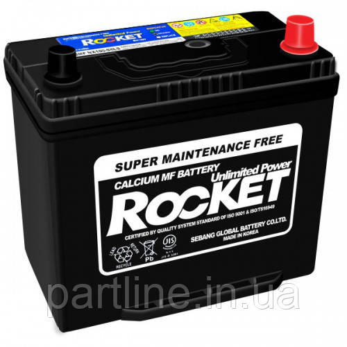 Аккумулятор Rocket 6СТ-55 Азия Евро, (SMF 75B24LS), 470En, габариты 238х129х225, гарантия 18 мес.