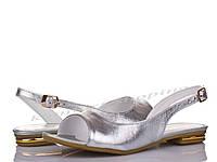 Женские босоножки кожаные, серебряные V 797