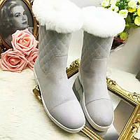 Женские зимние замшевые сапоги Louis Vuitton