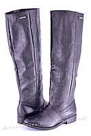 Женские сапоги кожаные, черные V 826