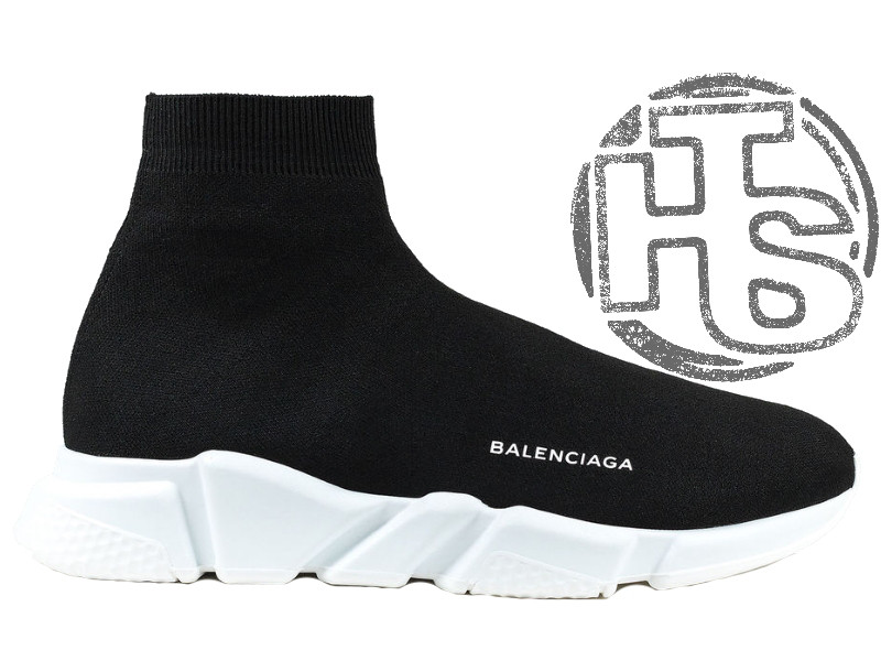 Жіночі кросівки Balenciaga Knit High-Top Sneakers Black/White 504880899