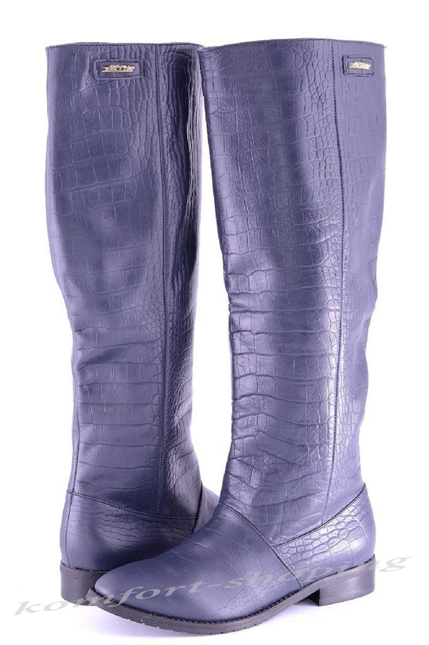 Женские сапоги кожаные, синие рептилия V 826