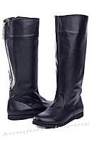 Женские сапоги кожаные, черные V 761