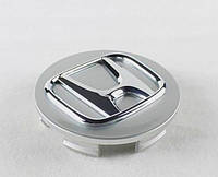 Колпачки заглушки для литых дисков Honda 44732-SDE-T00. Колпак  Хонда серый + хром, фото 1