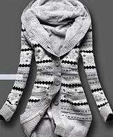 Женская кофта Gray comfort, длинная кофта с капюшоном