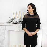 Нарядное платье с воланом и сеткой для беременных и кормящих мам черного цвета
