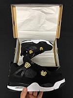 Копия Мужские кроссовки Nike Air Jordan 4 (Найк Аир Джордан) черно-бело-желтые