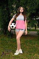 """Костюм летний из трикотажа """"Sport line"""" -распродажа модели серый+розовый, 42"""