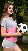 """Костюм летний из трикотажа """"Sport line"""" -распродажа модели серый+розовый, 44"""