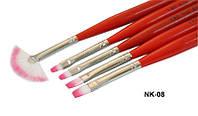 Набор кистей с красной ручкой 5 шт Yre NkK-08