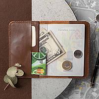 Кожаная обложка для паспорта и документов, виски