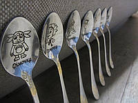 Детский сувенирный набор чайных ложек с нанисением надписи, фото 1