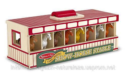 Переносная конюшня с лошадками Melissa&Doug