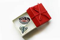 Брошь керамическая авторский дизайн ручная роспись цветок черно-красный