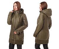 Женская демисезонная куртка больших размеров весна-осень1019 молоко 60, хаки