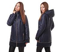 Женская демисезонная куртка больших размеров весна-осень1019 молоко 62, синий