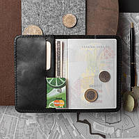 Кожаная обложка для паспорта и документов, черная