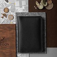 Кожаная обложка для документов и паспортов, черная с тиснением