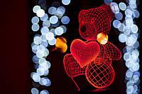 """Сменная пластина для 3D ламп """"Мишка с сердцем"""" 3DTOYSLAMP"""