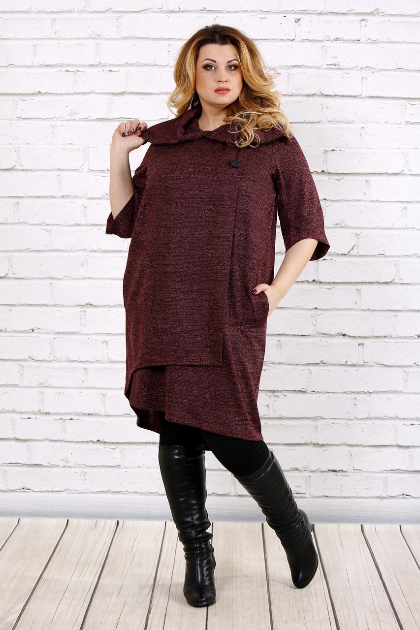 Бордовое платье из ангоры | 0687-2