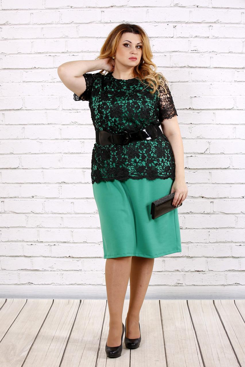 Зеленое платье с поясом | 0697-2