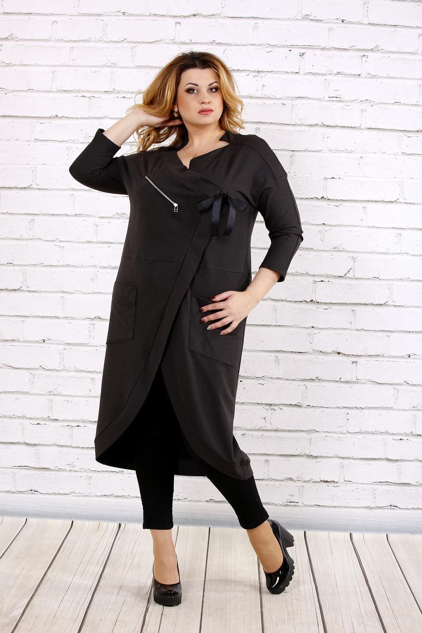 Темно-серое платье-туника   0702-2