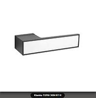 Дверная ручка Tupai 3084 RT H черная, вставка белый мат