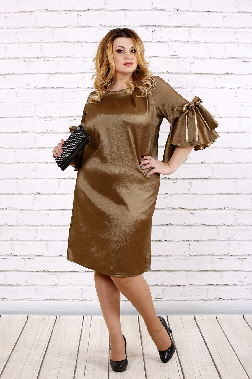Горчичное платье из тафты | 0705-1