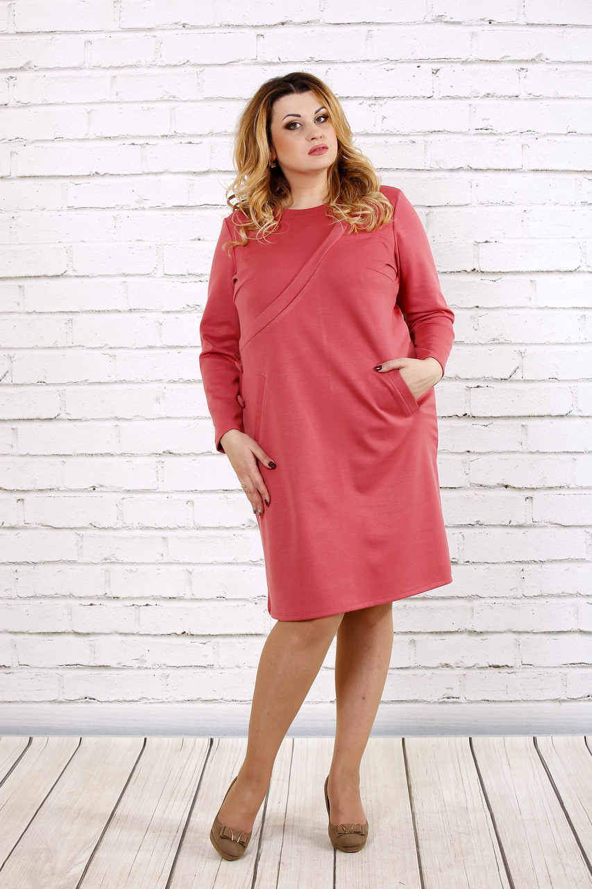 Нежное прямое платье цвета фрезия | 0707-2