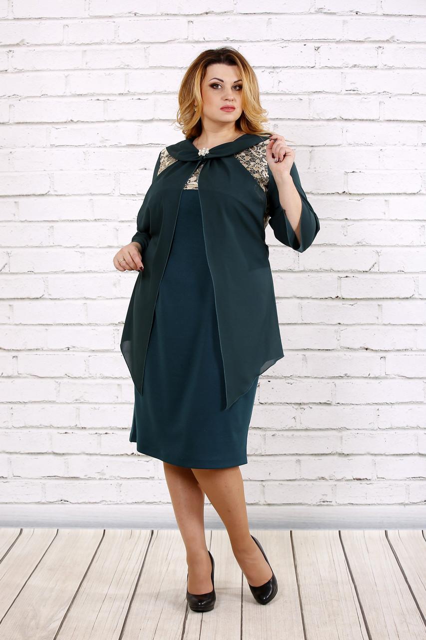 Зеленое платье с шифоном | 0709-2