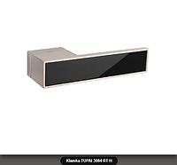 Дверная ручка Tupai 3084 RT H никель матовый, вставка черный глянец